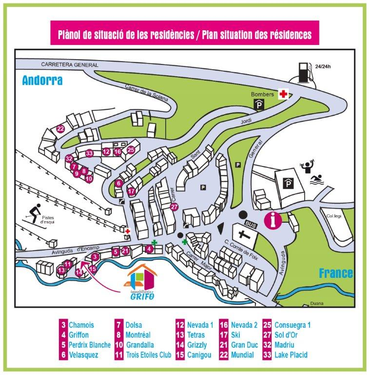 Location d'appartements Pas de la Casa Agence GRIFO Pas de la Casa Neige, Soleil, Ski, Shopping Free Taxes, Bien Etre. IMMOGRIFO visitar PAS DE LA CASA en GRANDVALIRA ANDORRA location pas de la case IMMO GRIFO VACANCES agencia inmobiliaria en Pas de la Casa desde 1972 AGIA FIABCI Av. d'Encamp, 29 BP2 - AD200 PAS DE LA CASA - PRINCIPAT D'ANDORRA . Tel: 00.376.855.250 . Les appartements GRIFO VACANCES se situent au pied des pistes du domaine skiable Grandvalira (200 km de pistes) au Pas de la Casa, le plus vaste des Pyrénées, au Pas de la Casa à 2100 m d'altitude. Tous nos appartements ont un accés direct aux pistes ou à moins de 150 m. Ils sont également à 5 mn à pied des commerces (idéal pour le shopping hors taxes), restaurants et bars. Ca bouge en Andorre ! Réservez votre séjour au ski chez GRIFO-VACANCES, de chez vous par mail, ou au Pas de la Casa et doublez ainsi vos chances en faisant votre shopping sur place et soyez l'heureux gagnant d'un lot de 6000 ? d'achats et bien plus. http://www.grifovacances.com/